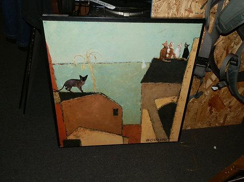 CATS ON A HOT TIN ROOF (ORIGINAL ART BY #ODDSPOT)