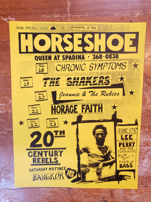 1981 HORSESHOE TAVERN CONCERT FLYER POSTER B