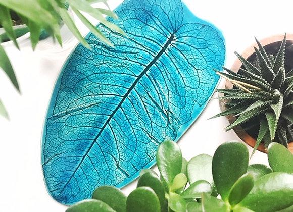 Teal Leaf Platter/Wide