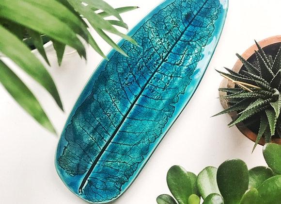 Teal Leaf Platter/Narrow