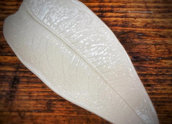 Ceramic Leaf Print Jewellery Dish/White