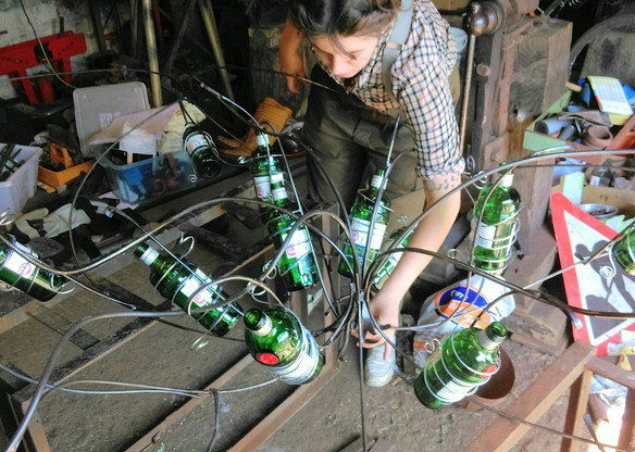 Gin Bottle Lights under construction