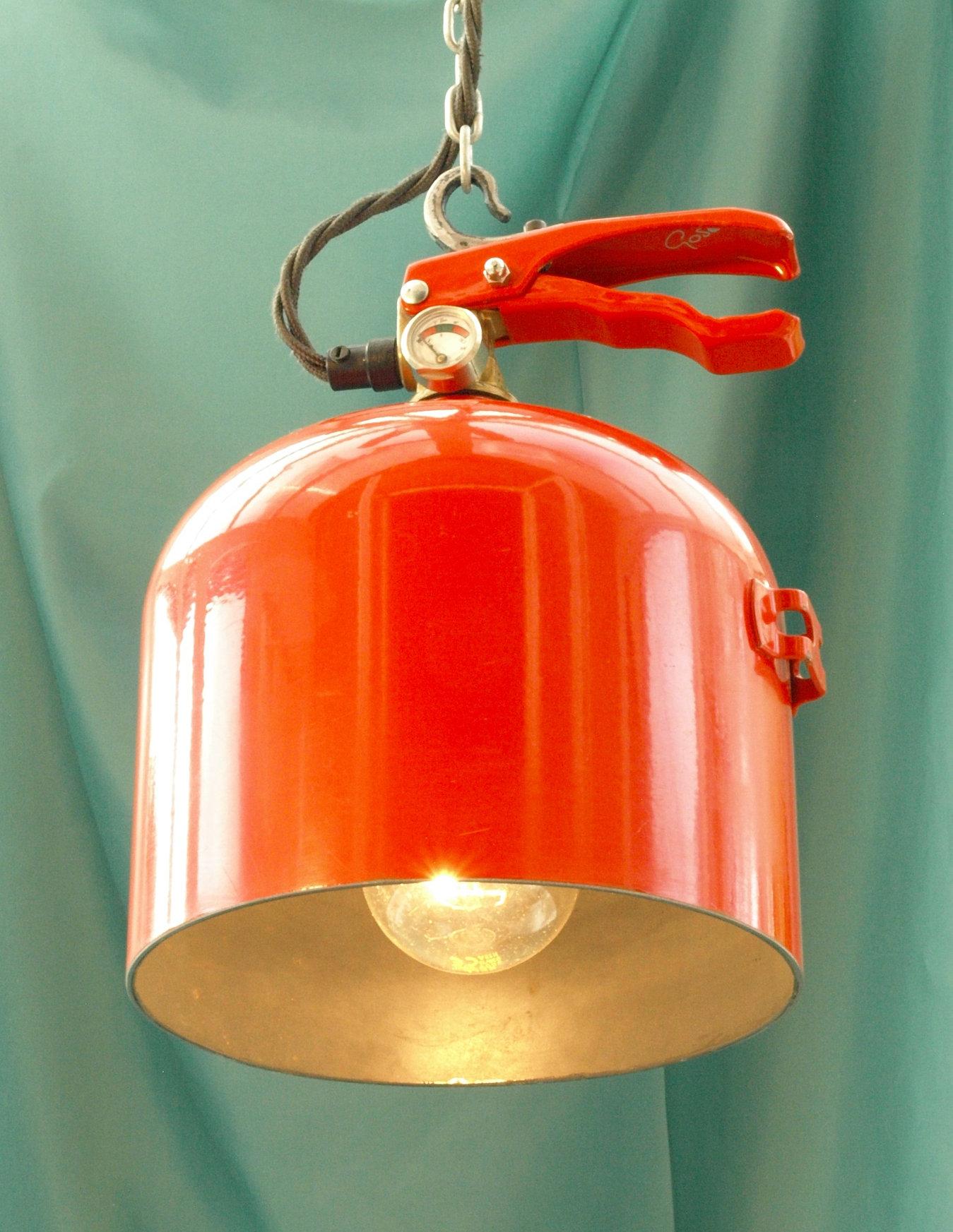 Extinguisher & Stewart Dives Artist Blacksmith Upcycled repurposed lighting. azcodes.com