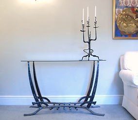 Hand forged iron and glass console table 'Sabre'