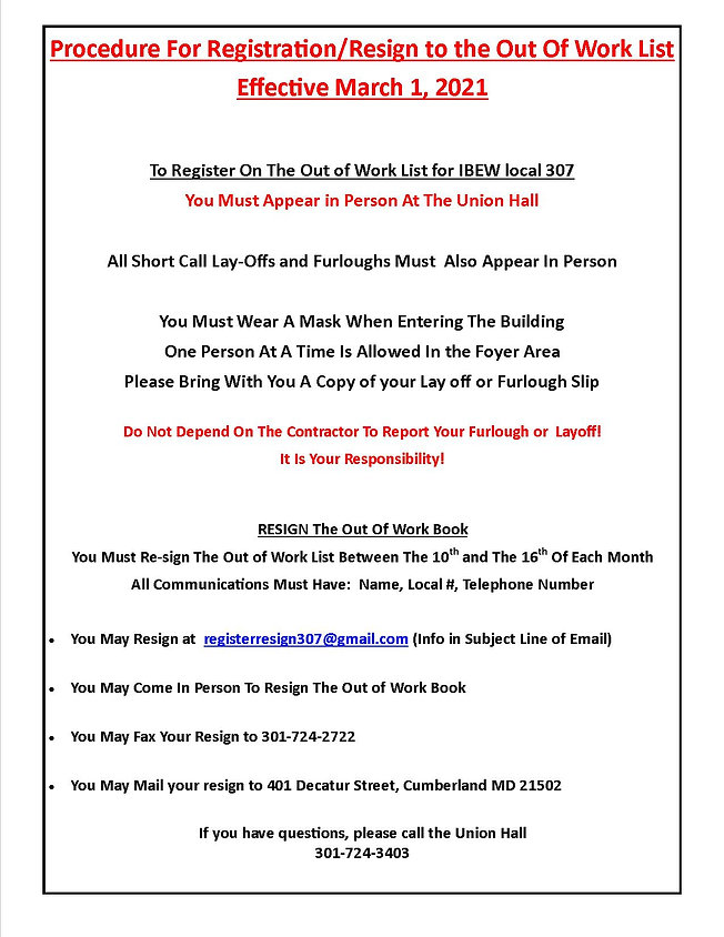 Register Resign Out Of Work List March 1