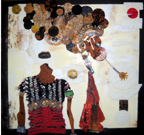 "Mixed media collages on wood panels – 24""x 24"""