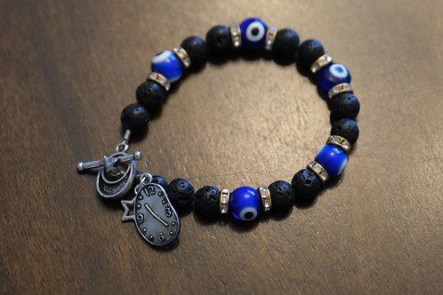 Black Lava Rock Evil Eye Melting Clock (31) - Charm Bracelet : Beaded