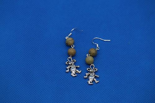 African Opal Jasper Dancing Bear (3) - Earrings : French Hook Dangles