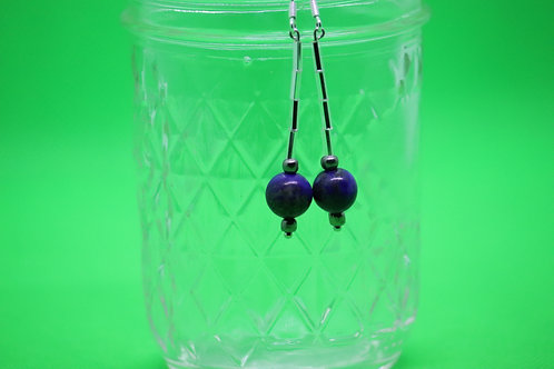 Lapis Lazuli Crystal Bugle (7) - Earrings : French Hook Dangles