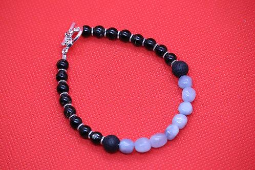 Black Tourmaline Lava Rock Aquamarine (42) - Diffuser Bracelet : Beaded