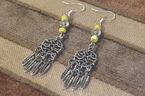 Dreamcatcher Yellow Glass (4) - Earrings : French Hook Dangles