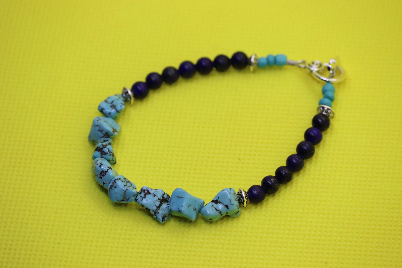 Turquoise Dyed Howlite Lapis Lazuli (32) - Bracelet : Beaded