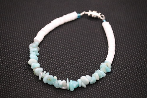 Amazonite Chip White River Shells (81) - Bracelet : Beaded