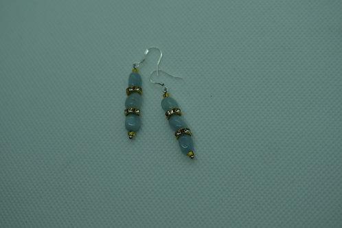 Aquamarine Gold Glass (7) - Earrings : French Hook Dangles