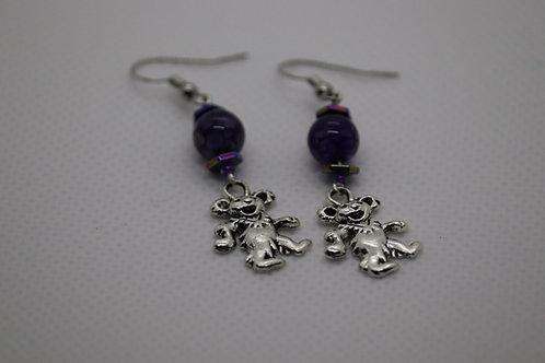 Purple Dyed Agate Dancing Bear (6) - Earrings : French Hook Dangles