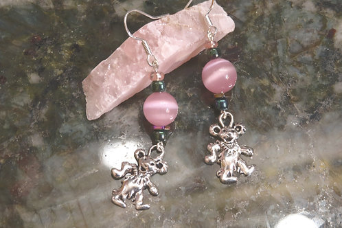 Cats Eye Pink Glass Dancing Bear (6) - Earrings : French Hook Dangles