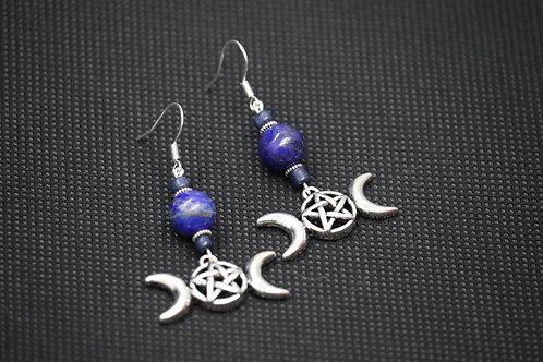 Lapis Lazuli Blue Glass Triple Moon (6) - Earrings : French Hook Dangles