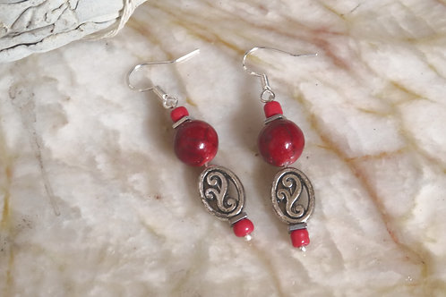 Red Dyed Quartzite Hematite Square Oval (6) - Earrings : French Hook Dangles