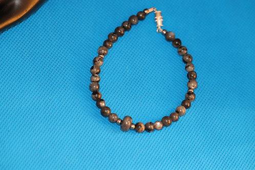 Larvikite Silver Glass (37) - Anklet / Ankle Bracelet : Beaded