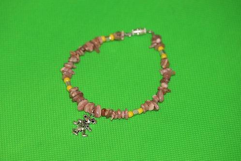 Rhodochrosite Chip Yellow Glass  Dancing Bear (83) - Charm Bracelet : Beaded
