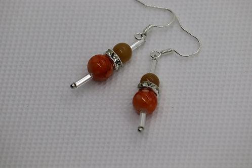 Orange Carnelian Orange Swirl Silver Bugle (5) - Earrings : French Hook Dangles