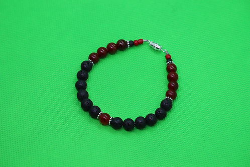 Black Lava Rock Red Glass (32) - Diffuser Bracelet : Beaded