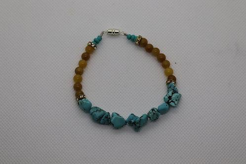 Turquoise Dyed Howlite Orange Carnelian (34) - Bracelet : Beaded