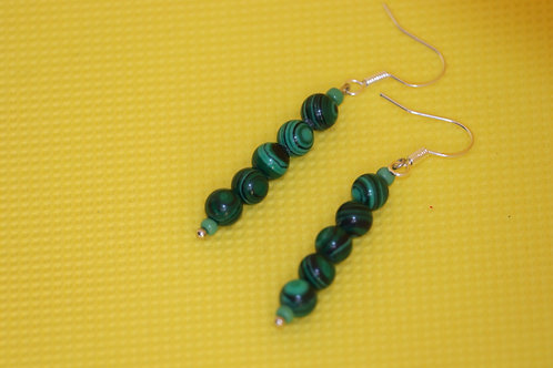 Simulated Malachite Green Glass (7) - Earrings : French Hook Dangles