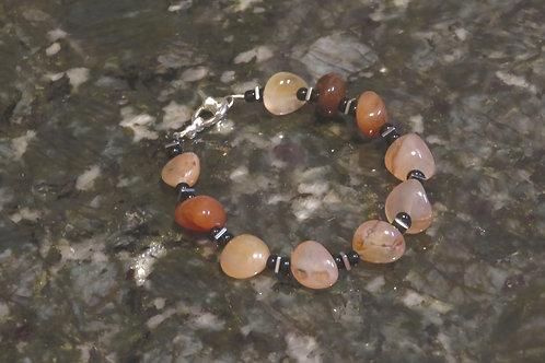 Orange Dyed Carnelian Nugget Hematite Square (45) - Bracelet : Beaded