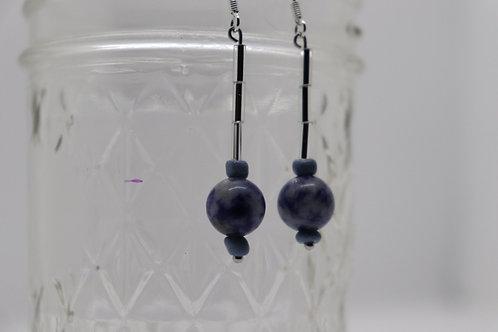 Sodalite Crystal Bugle (6) - Earrings : French Hook Dangles