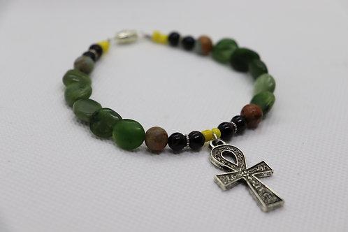 Green Jasper Black Tourmaline Ankh (33) - Anklet / Ankle Bracelet : Beaded
