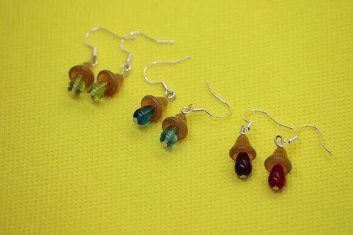 Honey Topaz Mushroom (1) - Earrings : French Hook Dangles