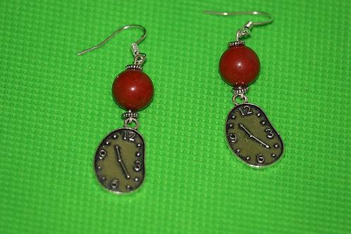Red Jasper Melting Clock (4) - Earrings : French Hook Dangles