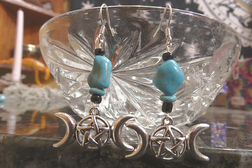 Turquoise Nugget Triple Moon (5) - Earrings : French Hook Dangles