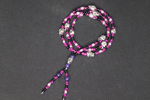 Purple Agate Silver Skulls Purple & Black Glass (257) - Necklace : Beaded