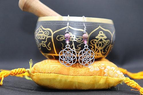 Rhodonite Seed Of Life (5) - Earrings : French Hook Dangles