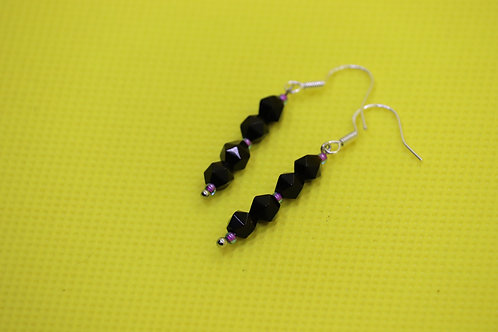 Black Onyx Aqua Purple (7) - Earrings : French Hook Dangles