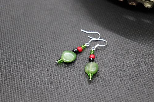 Green Jasper Red & Black Glass (7) - Earrings : French Hook Dangles