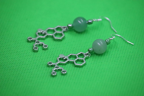 Green Aventurine LSD Molecule (4) - Earrings : French Hook Dangles