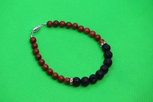 Black Lava Rock Red Jasper (30) - Diffuser Bracelet : Beaded