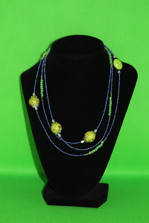 Green & Purple Glass (709) - Extra Long Necklace : Beaded