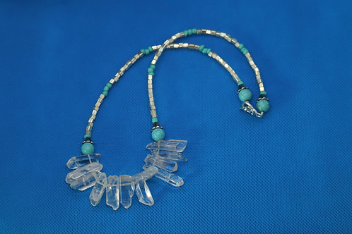 Turquoise Howlite Silver Glass Squares (122) - Necklace : Beaded