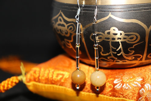 Orange Carnelian Crystal Bugle (8) - Earrings : French Hook Dangles