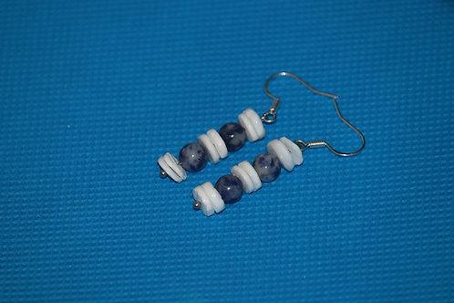 Sodalite White River Shells (8) - Earrings : French Hook Dangles