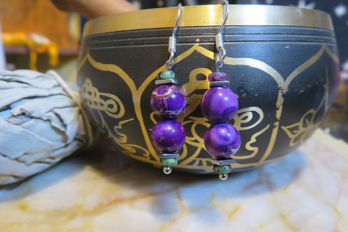 Ruby Zoisite Purple Jasper (6) - Earrings French Hook Dangles