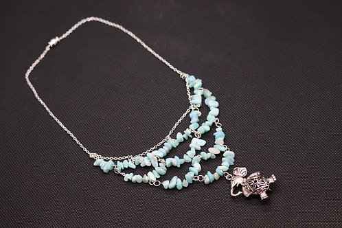 Amazonite Chip Elephant Sterling Silver (101) - Necklace : Beaded