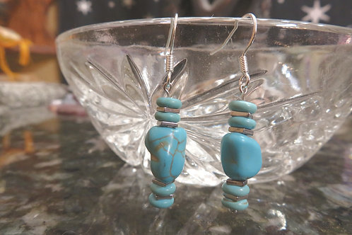 Hematite Squares Turquoise Disks & Nuggets (9) - Earrings : French Hook Dangles