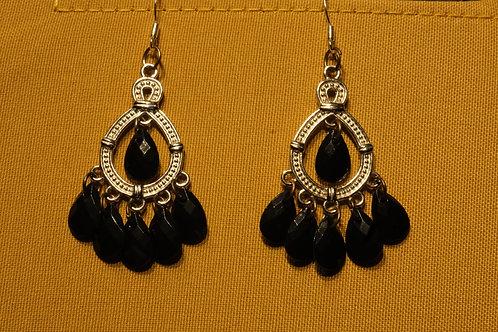 Rockstar Silver Hoop Black Peacock (6) - Earrings : French Hook Dangles