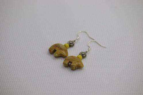 Yellow Jasper Flower (3) - Earrings : French Hook Dangles
