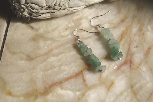 Green Aventurine Chip (7) - Earrings : French Hook Dangles